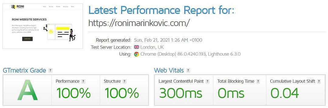 RoniMarinkovic.com GTMetrix score